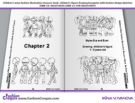 Children's fashion illustrations and figure drawing templates for 1-3-year-old kids.