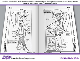 Children's fashion illustrations for 1-3-years-old girls.