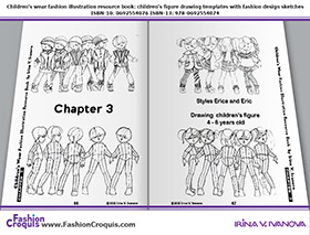 Fashion illustrations with figure drawing templates for 4-6-years-old children.