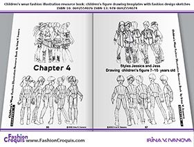 Fashion illustrations and figure drawing templates for 7-10-years-old children.