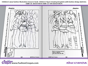 Fashion illustrations and sketches for 7-10-years-old girls.