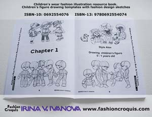 Fashion template. Children's figure drawing. 1 year old.