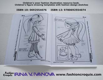 Fashion design illustration. Childrenswear. Dresses.